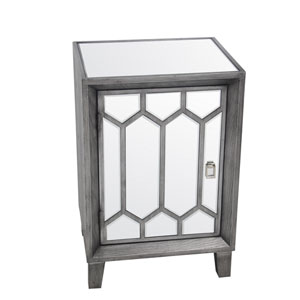 Gray Mirror One Door Accent Stand
