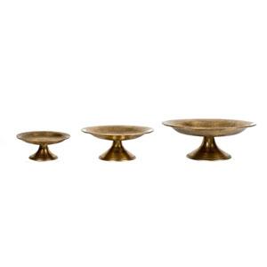 Antique Gold Brass Bowls, Set of Three