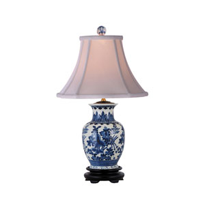 Blue and White One-Light Porcelain Jar Table Lamp