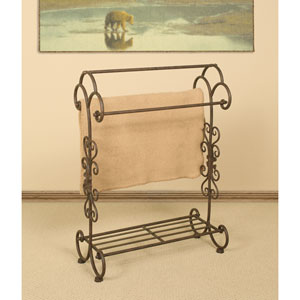 Ornate Triple Bar Quilt Rack and Shelf