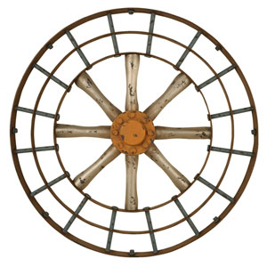 Gun Metal Silver and Copper Spoked Wall Art