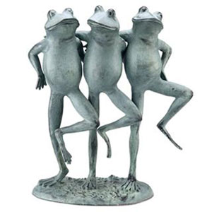 Verde Green Dancing Frog Trio Decorative Object