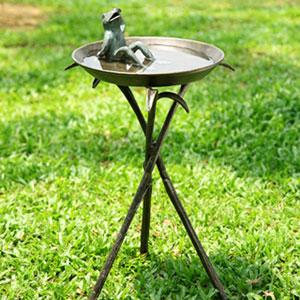 Bronze Cool Frog Birdbath
