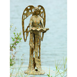 Patina Gold Garden Angel Bird Feeder