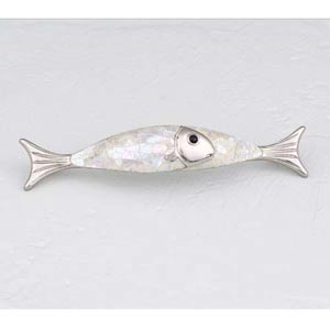 Mother of Pearl Polished Nickel Fish Pull