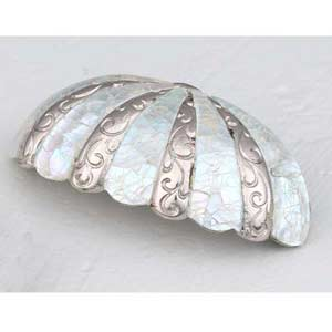 Mother of Pearl Polished Nickel Cup Pull