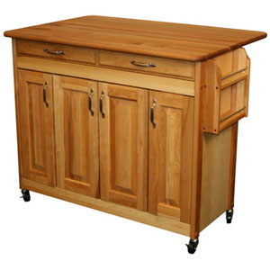 Butcher Block Island with Raised Panel Doors and Drop Leaf