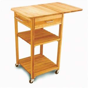 Drop Leaf Cart with Slat Shelves