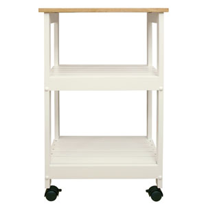 Utility/ Microwave White Butcher Block Cart