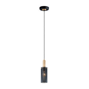 Perf Black and Satin Brass One-Light Mini Pendant