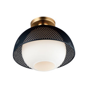 Perf Black and Satin Brass One-Light Semi-Flush Mount