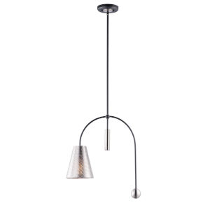 Filter Black and Satin Nickel Seven-Inch One-Light Adjustable Mini Pendant