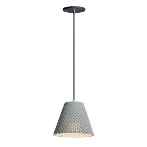 Woven Gray and Black One-Light Mini Pendant