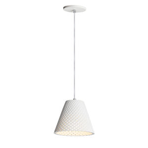 Woven White One-Light Mini Pendant