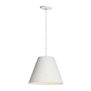 Woven White One-Light Pendant