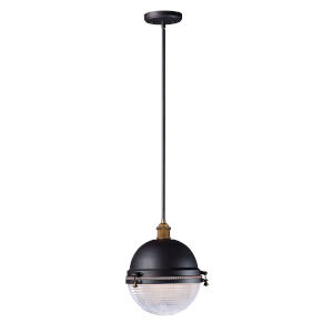 Portside Oil Rubbed Bronze and Antique Brass 12-Inch One-Light Adjustable Outdoor Pendant