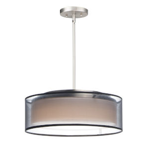 Prime Satin Nickel 16-Inch Three-Light LED Adjustable Pendant