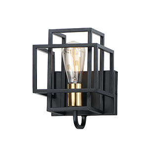 Liner Black and Satin Brass One-Light Wall Sconce