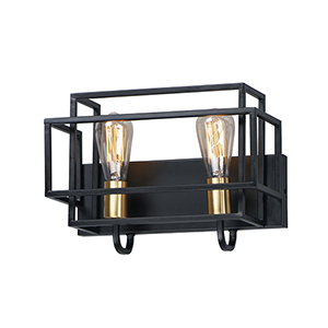 Liner Black and Satin Brass Two-Light Wall Sconce