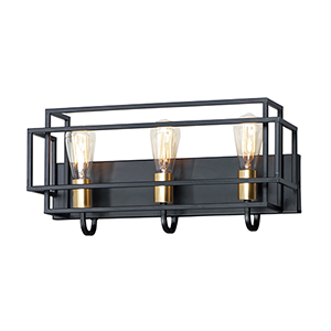 Liner Black and Satin Brass Three-Light Wall Sconce