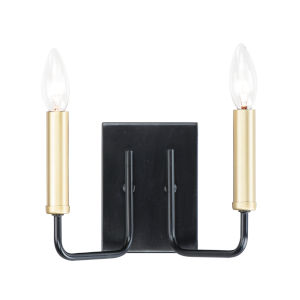 Sullivan Black and Gold Nine-Inch Two-light Wall Sconce