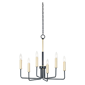 Sullivan Black and Gold Six-Light Adjustable Chandelier