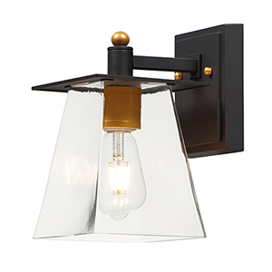 Chalet Bronze and Gold LED Six-InchOutdoor Wall Mount Sconce