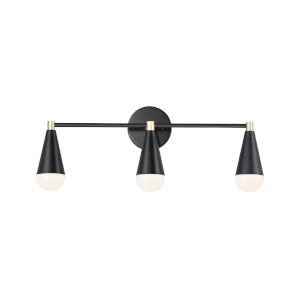 Lovell Black and Satin Brass Three-Light Bath Vanity with Bulbs
