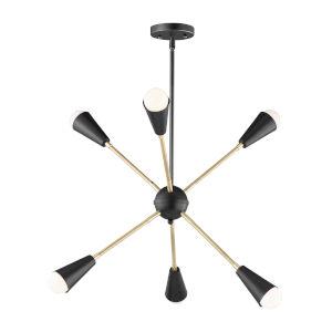 Lovell Black and Satin Brass Six-Light Pendant with Bulbs