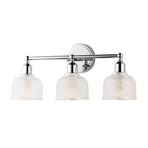 Hollow Polished Chrome 23-Inch Three-Light Bath Vanity