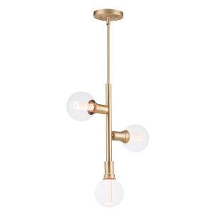 Molecule Satin Brass 17-Inch Three-Light LED Pendant