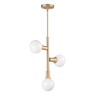 Molecule Satin Brass 17-Inch Three-Light Adjustable Pendant