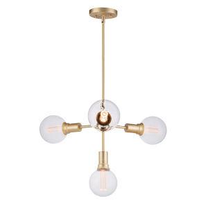 Molecule Satin Brass 24-Inch Four-Light LED Adjustable Pendant