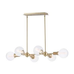 Molecule Satin Brass 25-Inch Six-Light LED Adjustable Linear Pendant