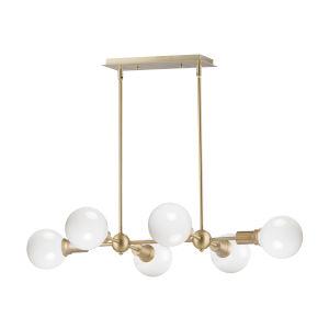 Molecule Satin Brass 25-Inch Six-Light Adjustable Linear Pendant