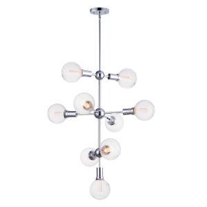 Molecule Polished Chrome 27-Inch Nine-Light LED Foyer Pendant