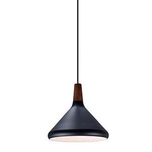 Nordic Walnut and Black One-Light Mini Pendant