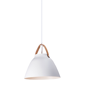 Nordic Tan Leather and White One-Light 15-Inch Pendant