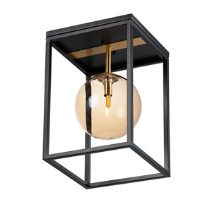 Fluid Black and Satin Brass LED Flush Mount