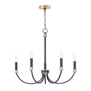 Charlton Black and Antique Brass Five-Light Chandelier