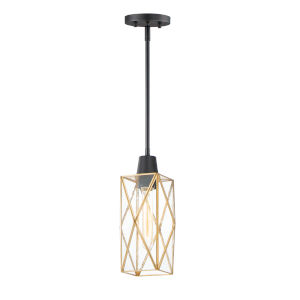 Norfolk Black and Burnished Brass One-Light Mini Pendant