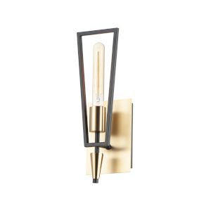 Wings Black and Satin Brass One-Light Wall Sconce