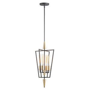 Wings Black and Satin Brass Four-Light Pendant
