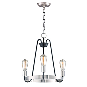 Haven Black and Satin Nickel 18-Inch Three-Light Chandelier