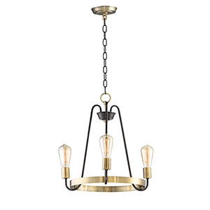 Haven Oil Rubbed Bronze and Antique Brass 18-Inch Three-Light Chandelier