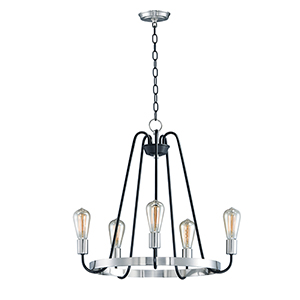 Haven Black and Satin Nickel 23-Inch Five-Light Chandelier