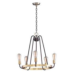 Haven Oil Rubbed Bronze and Antique Brass 23-Inch Five-Light Chandelier