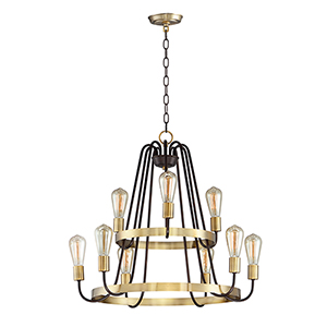 Haven Oil Rubbed Bronze and Antique Brass 27-Inch LED Chandelier