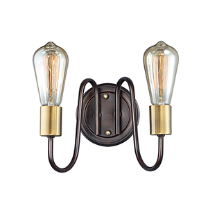 Haven Oil Rubbed Bronze and Antique Brass Nine-Inch Two-Light Wall Sconce
