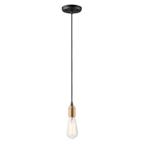 Early Electric Black and Antique Brass Five-Inch One-Light Mini Pendant
